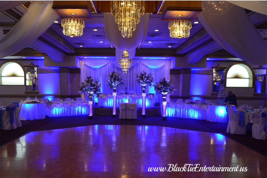 Black Tie Entertainment at up lighting blue Guy's Party Center