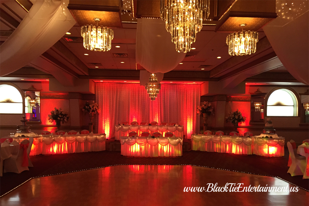 Black Tie Entertainment up lighting red at Guy's Party Center