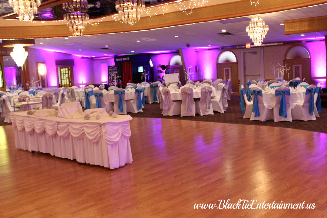 Guy's Party Center with Black Tie Entertainment up lights